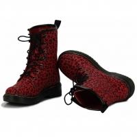 Dámské červené leopardí kotníkové boty Rebel… ce940b4587