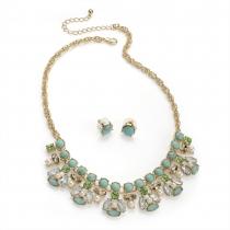 SET: Zelený náhrdelník a náušnice Ema 30061