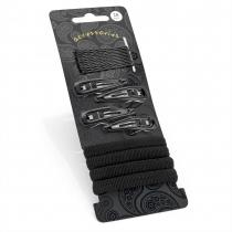 SET: Černé gumičky a sponky 30207 - 20 ks