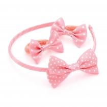 SET: Světle růžová čelenka a gumičky do vlasů 28868