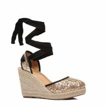 Dámské zlaté sandály na platformě Poly 4057