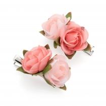 Dvě růžové sponky do vlasů Leona 30248