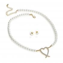 SET: Bílý náhrdelník a náušnice Meliss 30677