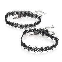 Dva černé háčkované choker náhrdelníky Krisna 30554