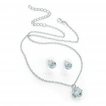 SET: Náhrdelník a náušnice ve stříbrné barvě Yuli 30529