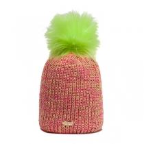 Vícebarevná čepice Avanti se zelenou bambulí