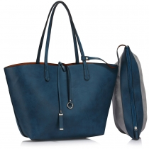 Dámská modrohnědá oboustranná kabelka Lorieta 393