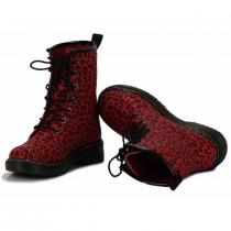 Dámské červené leopardí kotníkové boty Rebel 112