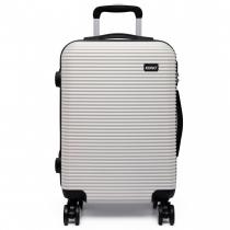 Dámský malý bílý kufr na kolečkách Travel 6676