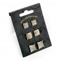 SET: Tři páry náušnic ve zlaté barvě Hally 30819