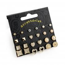 SET: Dvanáct párů náušnic ve zlaté barvě Special 30914