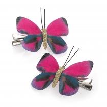 Dvě tmavě růžové sponky do vlasů Butterfly 31050