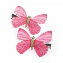 Dvě růžové sponky do vlasů Butterfly 31049