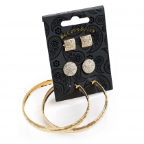 SET: Tři páry náušnic ve zlaté barvě Debbi 30815