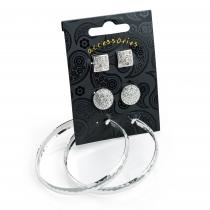 SET: Tři páry náušnic ve stříbrné barvě Debbi 30816