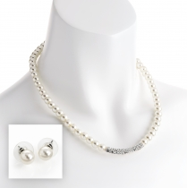 SET: Náhrdelník a náušnice v bílé barvě Salma 30968