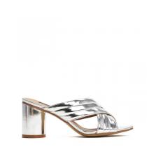 Dámské stříbrné pantofle na podpatku Kyllie 8203