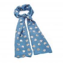 Dámský šátek se zlatými srdíčky Loe 31539