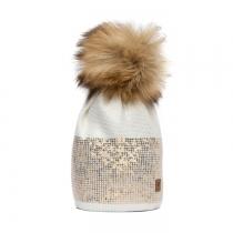 Krémová čepice Woolk s hnědou bambulí a flitry