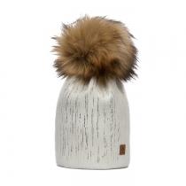 Krémová čepice Woolk se zlatými proužky a hnědou bambulí