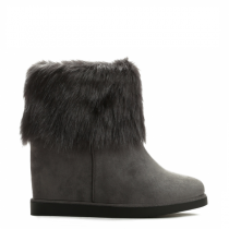 Dámské šedé kotníkové boty na klínku Lussia 9120