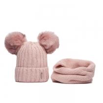 SET: Růžová čepice a nákrčník Wrobi