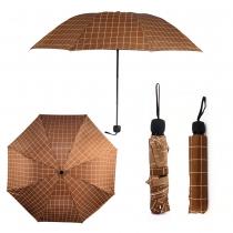 Hnědý károvaný deštník Carley 012
