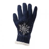 Námořnicky modré prstové rukavice Snowflake