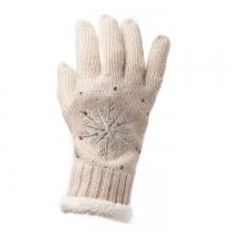 Béžové prstové rukavice Snowflake