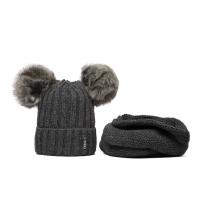 SET: Tmavě šedá čepice a nákrčník Wrobi