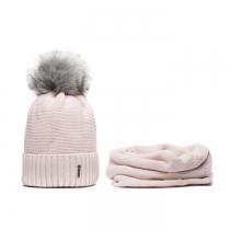 SET: Růžová čepice s šedou bambulí a nákrčník Wrobi