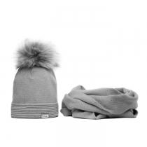 SET: Tmavě šedá čepice a šála Veilo