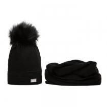 SET: Černá čepice a šála Veilo