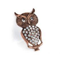 Brož v růžovo zlaté barvě Owl 31436