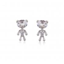 Náušnice ve stříbrné barvě Teddy 0013