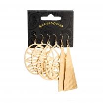 SET:Tři páry náušnic ve zlaté barvě Abigail 31670