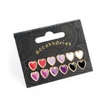 SET: Šest párů barevných náušnic Love 31587