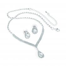 SET: Náhrdelník a náušnice ve stříbrné barvě Amber 31571