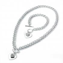 SET: Náhrdelník a náramek Love ve stříbrné barvě 21776