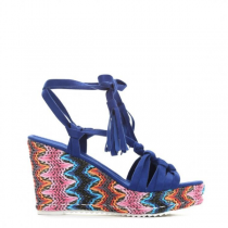 Dámské modré sandály na klínku Arven 3269