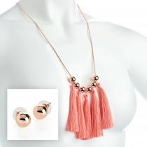 SET: Náhrdelník a náušnice v růžovo zlaté barvě Kim 31914