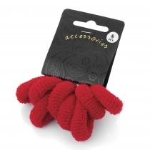 Osm červených gumiček do vlasů Loney 26055