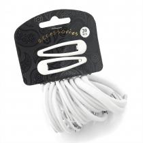 SET: Gumičky a sponky do vlasů 28071 bílé - 20 ks