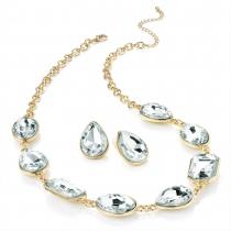 SET: Náhrdelník a náušnice ve zlaté barvě Crystal 28645