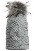 Delší šedá čepice Avanti s motivem a s šedou bambulí