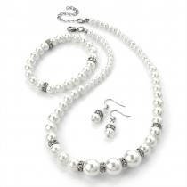 SET: Bílý náhrdelník, náušnice a náramek Pearl 24256