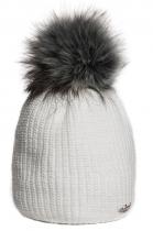 Bílá čepice Avanti s šedou bambulí