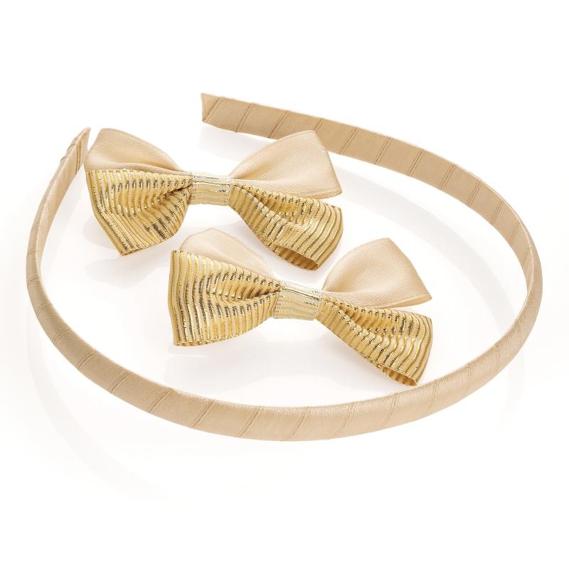 Zlatá čelenka a dvě sponky do vlasů Sanya 30572 - Svět shopaholiků.cz 9127a51aad